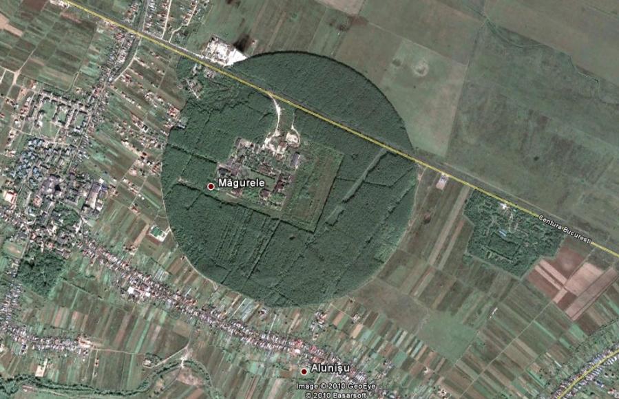 Padurea Magurele vazuta din satelit. Un rotund interesant.