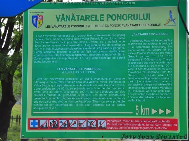 informatii vanatarile ponorului panou