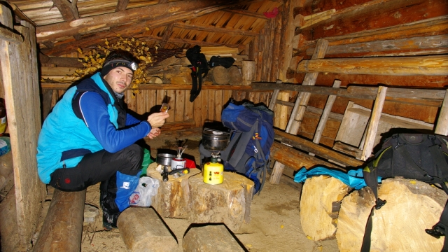At a shelter atop Vf. Secului in mt. Bistritei.