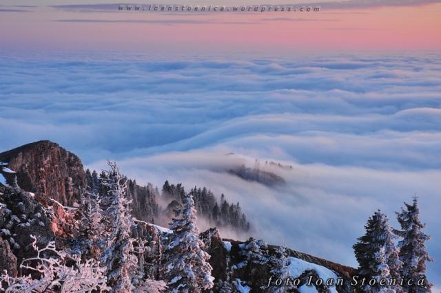 bleu si roz pe munte - mare de nori