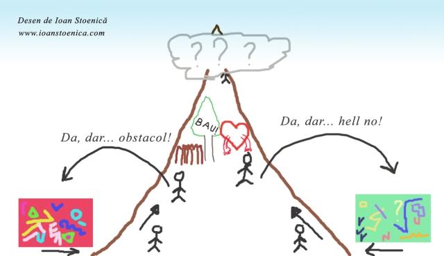 urcand spre varf - obstacole